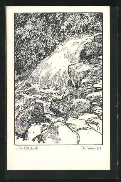Künstler-AK Otto Ubbelohde: Wasserfall
