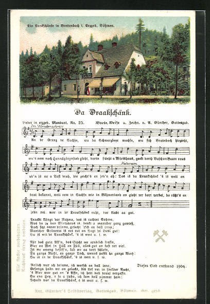 Lied-AK Anton Günther Nr. 25: Breitenbach, Gasthaus Dreckschänke, Liedtext Da Draakschänk