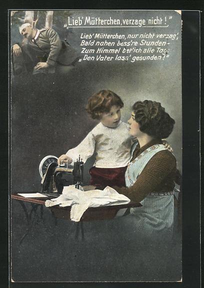 AK Kind tröstet die Mutter an der Nähmaschine