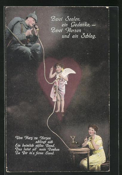 AK Engel verbindet die Telefonleitung zwischen dem Soldaten und der Frau zu Hause