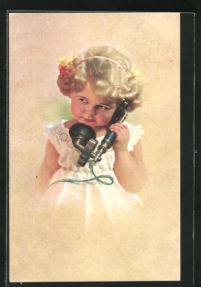 AK Kleines blondes Mädchen hält einen Telefonhörer in der Hand