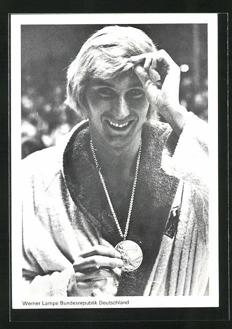 AK München, Olympia 1972, Werner Lampe, Bronzemedaille 200 m Freistil