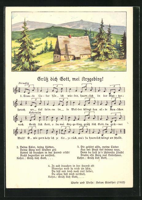 Lied-AK Anton Günther Nr. 8982: Hütte im Erzgebirge, Text Grüss dich Gott, mei Erzgebirg!