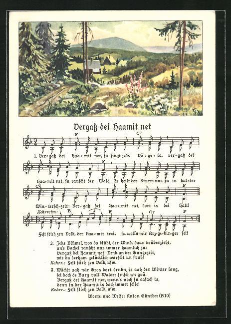 Lied-AK Anton Günther Nr. 1855: Landschaft im Mittelgebirge, Text Vergass dei Haamit net