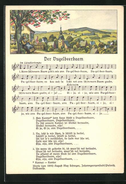 Lied-AK Anton Günther Nr. 8983: Dorf mit Kirche, Text Der Vugelbeerbaam