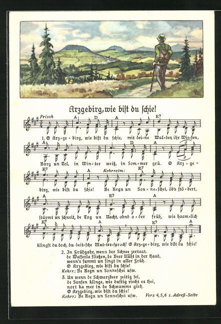 Lied-AK Anton Günther Nr. 1854: Wanderer blickt über die Landschaft, Text Arzgebirg, wie bist du schie