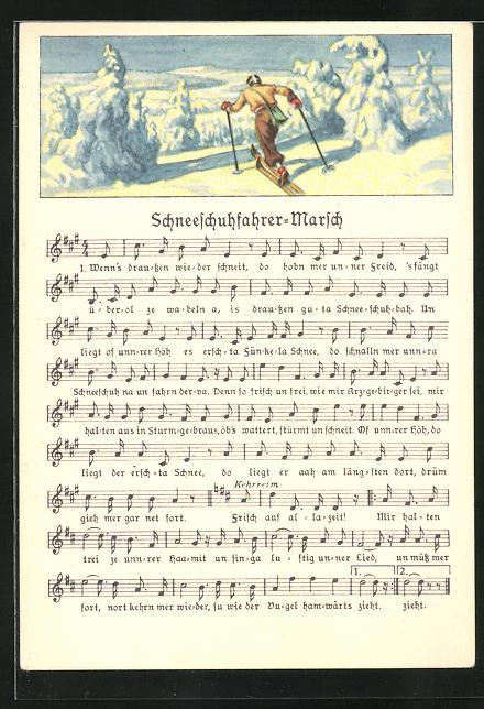 Lied-AK Anton Günther Nr. 8984: Skifahrer in Winterlandschaft, Text Schneeschuhfahrer-Marsch