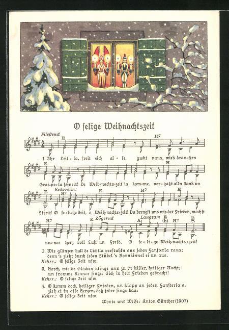 Lied-AK Anton Günther Nr. 1852: Lichter im Fenster, Text O selige Weihnachtszeit