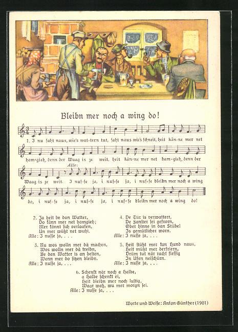 Lied-AK Anton Günther Nr. 8979: Männer im Wirtshaus, Text Bleibn mer noch a wing do