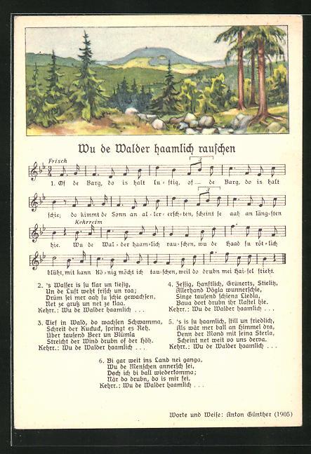 Lied-AK Anton Günther Nr. 8981: Blick über waldreiche Landschaft, Text Wu de Walder haamlich rauschen