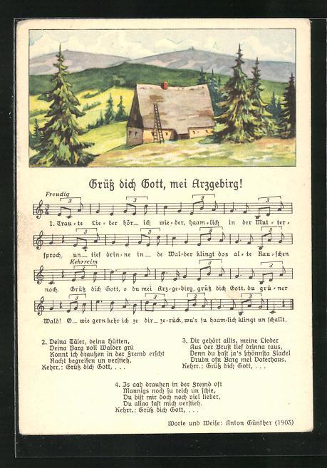 Lied-AK Anton Günther Nr. 8982: Hütte auf der Anhöhe, Text Grüss dich Gott, mei Arzgebirg