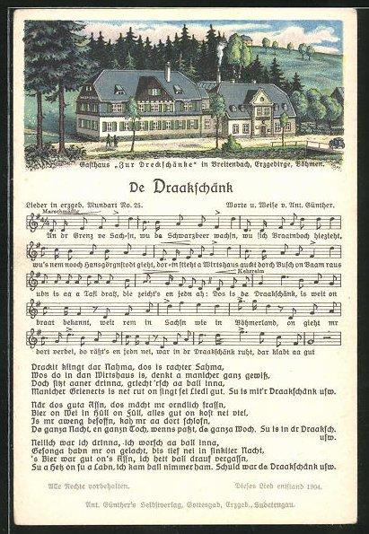 Lied-AK Anton Günther Nr. 25: Breitenbach, Gasthaus Zur Dreckschänke, Text De Draakschänk