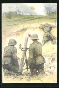 AK Schweizer Soldaten der 6. Division an ihrem Geschütz