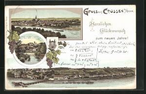Lithographie Crossen / Krosno Odrz, Blick von der Fischerei nach dem Silberberg, Bergseite der Ortschaft