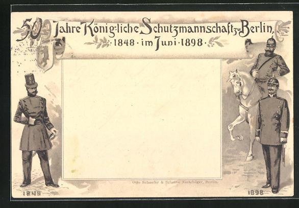 Lithographie Berlin, 50 Jahre Königliche Schutzmannschaft zu Berlin 1898, Polizei in Dienstkleidung
