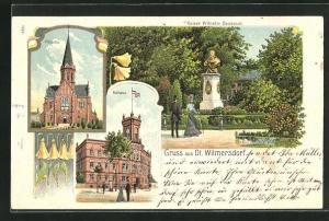 Lithographie Berlin-Wilmersdorf, Kaiser Wilhelm Denkmal, Kirche, Rathaus