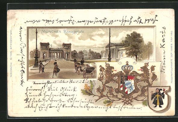 Passepartout-Lithographie München, Königsplatz u. Wappen