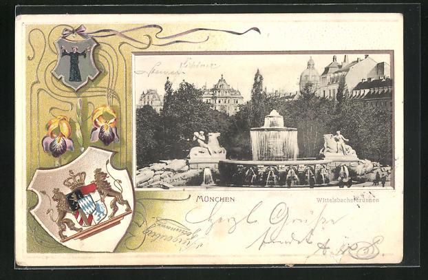 Präge-AK München, Wittelsbacherbrunnen u. Wappen