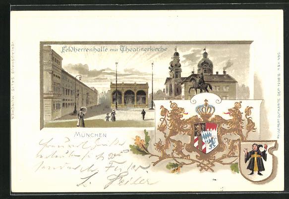 Passepartout-Lithographie München, Odeonsplatz u. Wappen