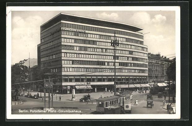 AK Berlin-Tiergarten, Potsdamer Platz mit Columbushaus, Strassenbahn, Bauhaus