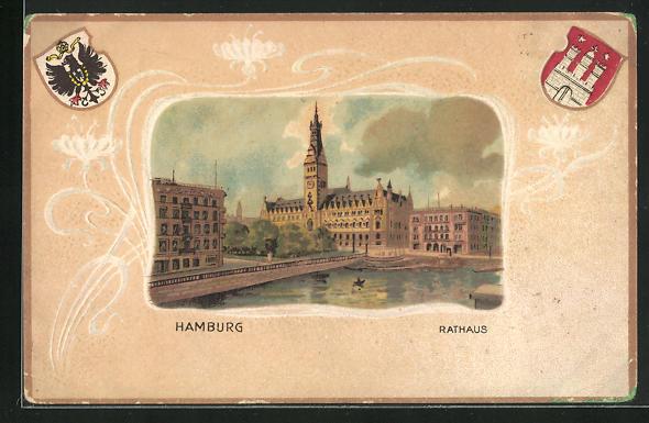 Passepartout-Lithographie Hamburg, Rathaus u. Wappen