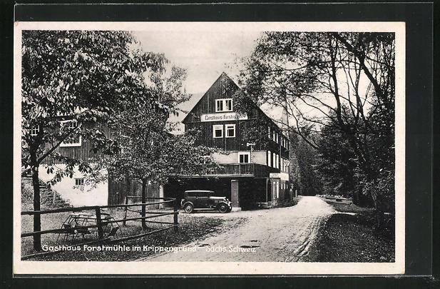 AK Kleingiesshübel / Sächs. Schweiz, Gasthaus Forstmühle im Krippengrund