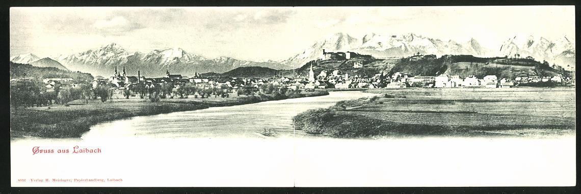 Klapp-AK Ljubljana / Laibach, Panorama mit Stadt und Gebirge