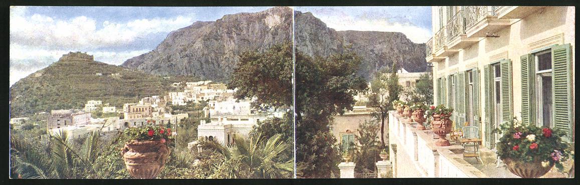 Klapp-AK Capri, Veduta del Castiglione dal Terrazzo del Hotel Tiberio