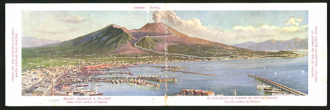 Klapp-AK Neapel / Napoli, Blick von der Stadt auf den rauchenden Vesuv
