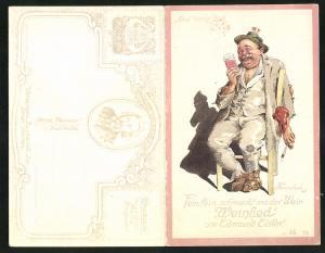 Klapp-AK Fein, fein, schmeckt uns der Wein, Weinlied von Edmund Eisler, aus der Operette Der lachende Ehemann