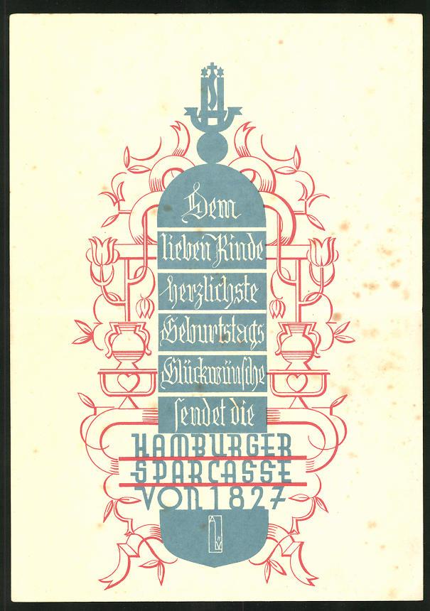Klapp-AK Hamburger Sparkasse von 1827, Geburtstagsglückwünsche