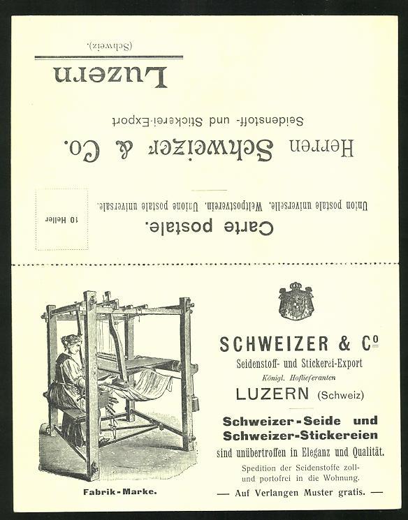 Klapp-AK Luzern, Seidenstoff- und Stickerei-Export Schweizer & Co., Frau am Webstuhl