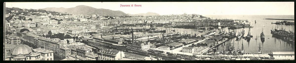 Klapp-AK Genova, Teilansicht mit Hafen