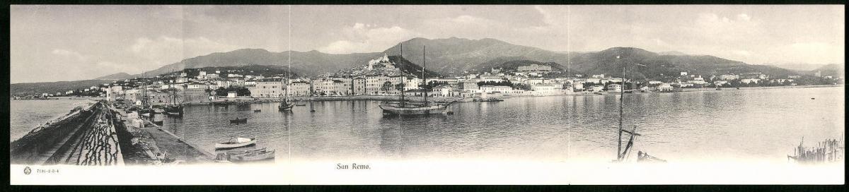 Klapp-AK San Remo, Panoramablick auf den Küstenort