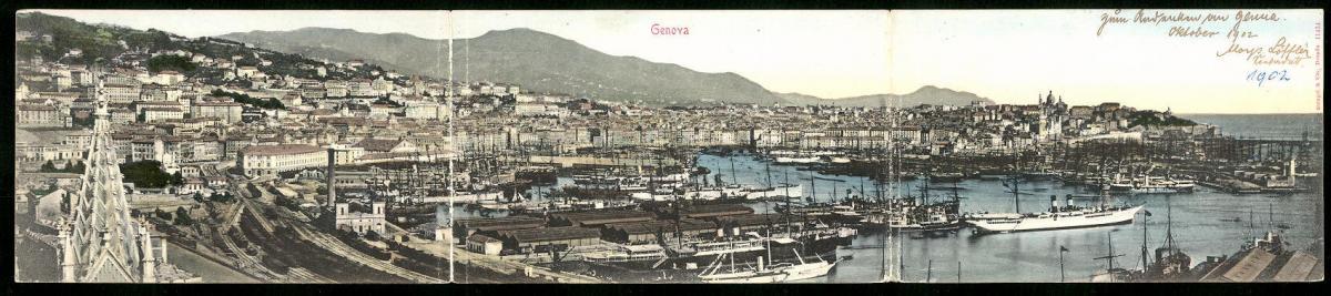 Klapp-AK Genova, Panoramablick auf den Hafen