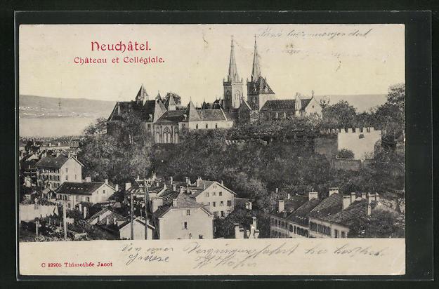 Relief-AK Neuchatel, Chateau et Collégiale