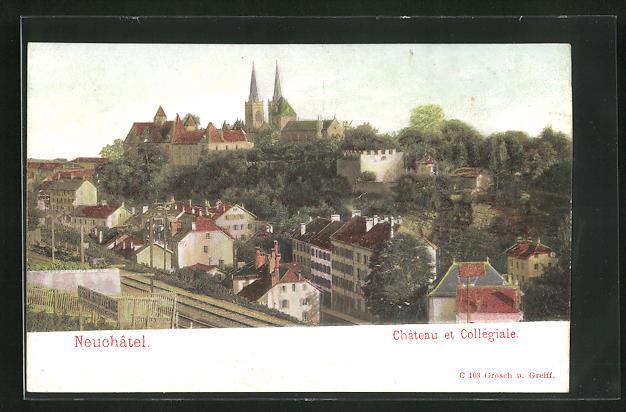Relief-AK Neuchatel, Chateau et Collégiale, Teilansicht