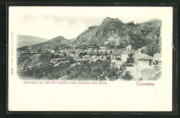 Relief-AK Taormina, Panorama con vista del Castello e della Madonna della Rocca