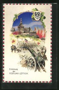 AK Lüttich, Erstürmung der Festung durch deutsche Truppen, Halt gegen das Licht: Brände in der Stadt