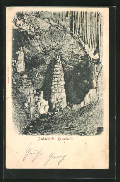 Relief-AK Kaiserhalle in der Dechenhöhle