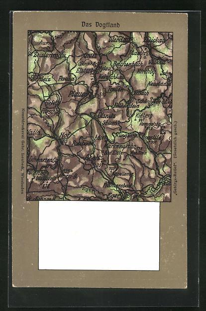 Relief-AK Plauen, Landkarte vom Vogtland