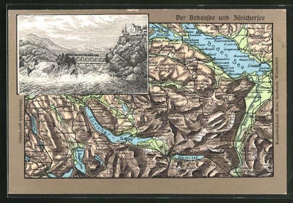 Relief-AK Neuhausen am Rheinfall, Landkarte der Region um Bodensee und Zürichersee, Rheinfall