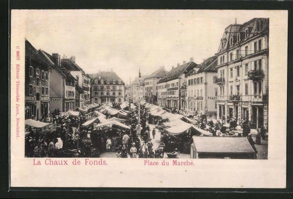 Relief-AK La Chaux de Fonds, Place du Marché, Marktplatz
