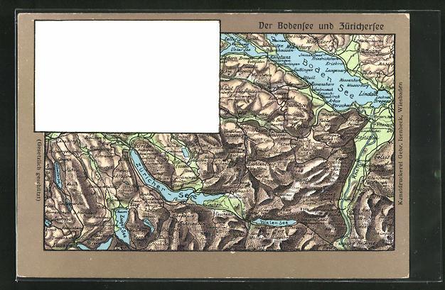 Relief-AK Landkarte der Region um Bodensee und Zürichersee