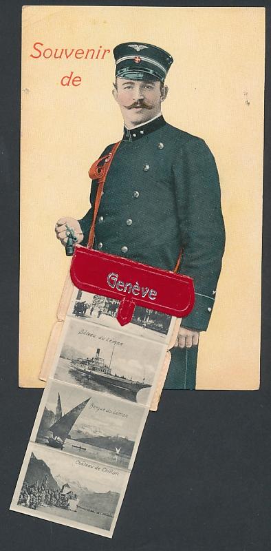 Leporello-AK Geneve, Briefträger mit Ansichten in der Posttasche, Pont du Montblanc, St. Pierre, Le Théatre