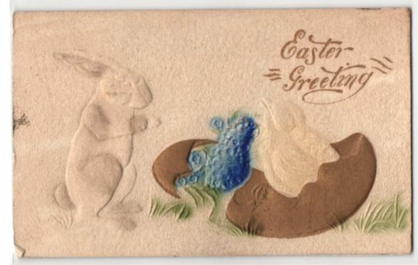 Präge-Airbrush-AK Easter-Greeting, Osterhase und schlüpfendes Osterküken