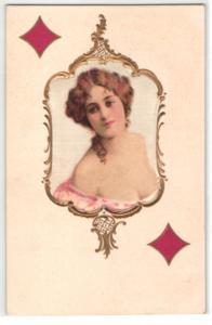 Seiden-AK Karo Dame beim Kartenspiel