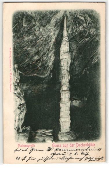 Relief-AK Ansichten aus der Dechenhöhle, Stalagmit in der Palmgrotte