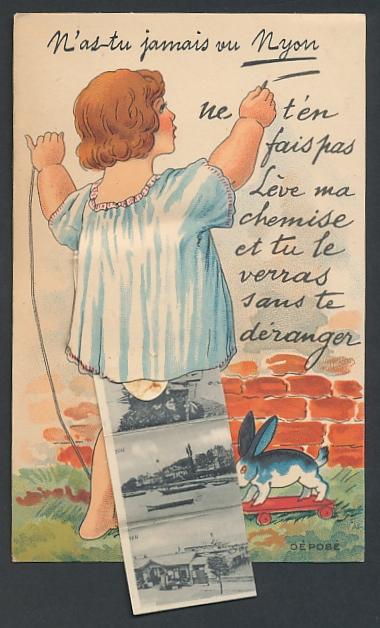 Leporello-AK Nyon, Kind mit Ansichten unterm Hemdchen, Gasthaus, Teilansicht, Dampfer am Anleger