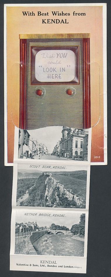 Leporello-AK Kendal, Ansichten hinterm Radio, Parish Church, Stricklandgate, Sizergh Castle